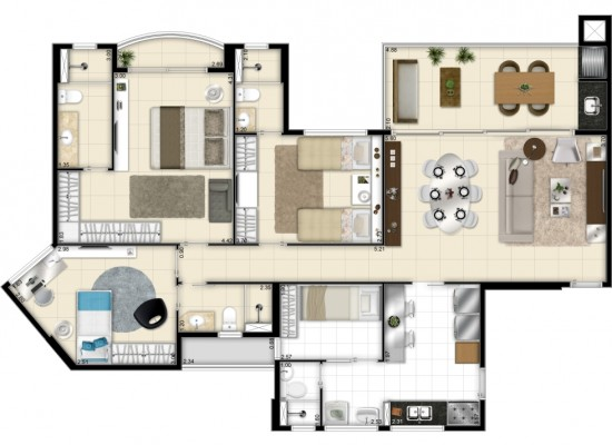 Living Resort - Ed. Mykonos - 116,05m² Privativo