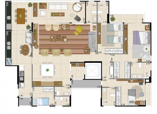 Living garden - Residencial das Flores e das Árvores – 188,98m² privativos