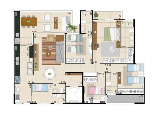 Living garden - Residencial dos Frutos – 152,02 m² privativos