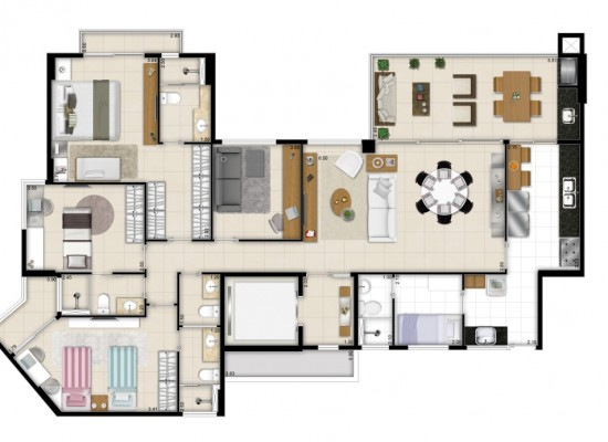 Living Resort - Ed. Santorini - 145,02m² Privativos