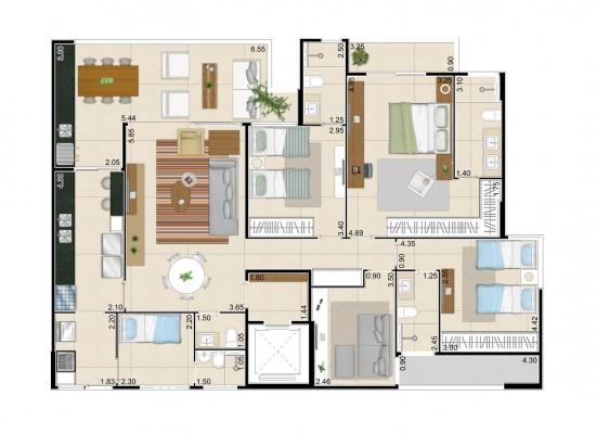 Living garden - Residencial dos Frutos – 152,02m² privativos